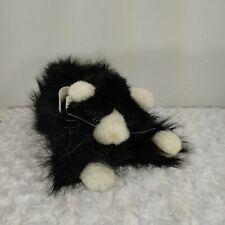 jerry elsner kitty cat plush long hair black and white long lying down bow