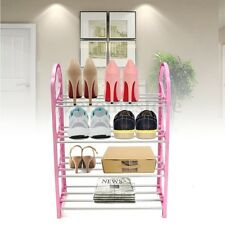 4 Tier Walnut 12 Pair Shoe Rack Storage Organiser Shoes Shelf Stackable Stand