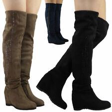Zip Wedge Over Knee Boots Faux Suede Shoes for Women
