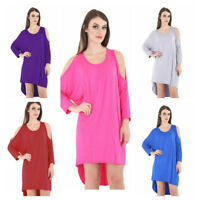 Ladies Tunic Loose Baggy Oversize top Womens Cut Out Cold Hi Lo Batwing Long Top