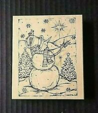 Northwoods Rubber Stamp Snowman Winter Cardinal Bird North Star Forest