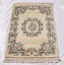 RRA 4x6 Chinese Floral French Aubusson Design Ivory Rug 46109