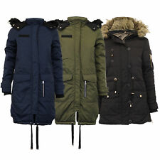 Ladies Parka Jacket Brave Soul Coat Fish Tail Hooded Fur Padded Quilted Winter Navy - Riesling UK 8