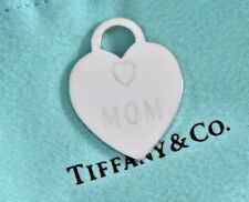 Tiffany & Co Sterling Silver MOM Two Heart Double Love Charm Pendant Mother's