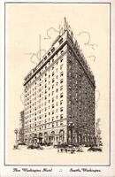 Vintage Postcard Washington Linen Postcard Seattle The Washington Hotel pb1