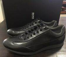 HUGO BOSS SHOES BRAND NEW! BLACK SMOOTH LEATHER TRAINERS!