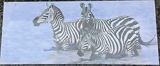 """Zebras At The Water Hole 24"""" x 10""""  on Wooden Stretcher Frame"""