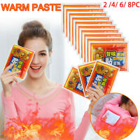 8PCS Body Warmer Stick Lasting Heat Patch Keep Hand Leg Foot Warm Paste Pads