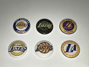 "1"" SET OF 6 LA LOS ANGELES LAKERS BADGE BUTTON PINS PINBACK [P121]"