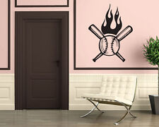 Fire Ball Baseball Bat Pellet  Sport Mural  Wall Art Decor Vinyl Sticker z316