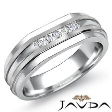 Mens Half Wedding Channel Set Diamond Band 18k White Gold 7mm Solid Ring 0.15Ct