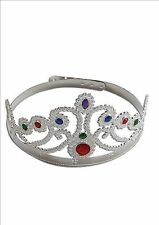 New Medieval Silver Queen Princess Crown Hat Fancy Dress Costume Adult P841