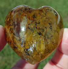 Dendrite Loaded Clear Quartz Phantom Iron Opalized Crystal Healing Heart Point