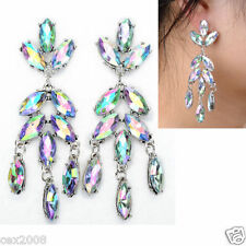 NEW Fashion Vintage Chandelier White Rhinestone Flower Long Tear drop Earrings
