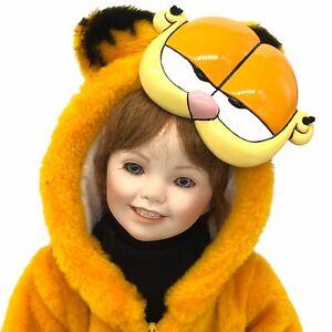 Ceramic Doll in Garfield The Cat Halloween Costume With Ceramic Garfield Mask
