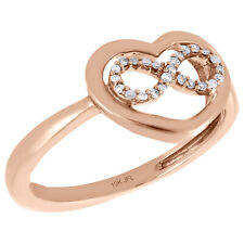 10K Rose Gold Round Diamond Open Heart Infinity Love Right Hand Ring 1/20 Ct.