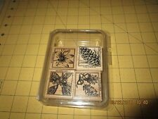 Stampin Up 2003 Close to Nature set of 4 Pine Cone, Flower, Oak Leaves & Acorns