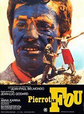 Affiche Pliée 40x60cm PIERROT LE FOU (1965) Godard - Belmondo, Karina. Reedition
