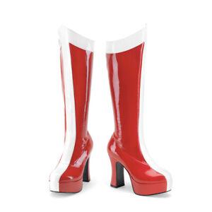 Funtasma EXOTICA-305 Women's Red White Patent Heel Stretch Super Hero Knee Boots