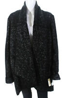 Donna Karan Womens Wool Tweed Open A-Line Jacket Black Size Large