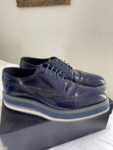 Prada Men Navy Derby Shoe 42 ( 9 )