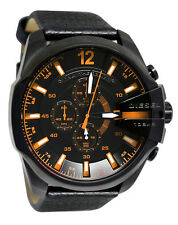 BRAND NEW DIESEL DZ4291 MEGA CHIEF BLACK LEATHER ORANGE ACCENT MEN'S WATCH