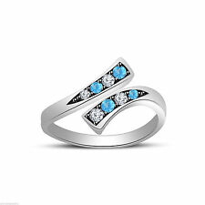Two Tone Gold Over 925 Sterling Silver Round Aquamarine/White Cz Bypass Toe Ring