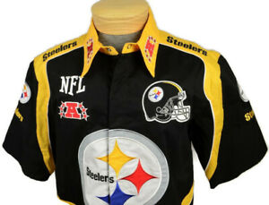 NFL Team Apparel Mens Pittsburg Steelers Fan Shirt Size Large Black Snap Buttons