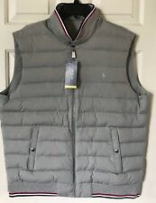 $145 NWT Mens Polo Ralph Lauren Performance Down Panel Double Knit Vest Gray