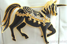 Fantasy Black Enamel Unicorn Brooch