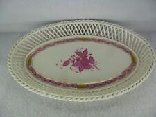 """Herend porcelain Apponyi Porpora Pattern Reticolo Cesto piatto 10.5"""""""