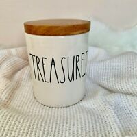 """Rae Dunn Artisan """"Treasures"""" Canister Jar Cellar Container Wood Lid By Magenta"""