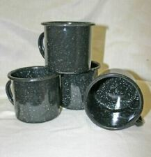 Set of Four Black Enamel 12oz Cup