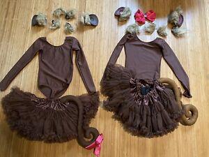 2 X Girls Monkey Dance Custom Costume Party Duet  Tutu Leotards SC 6 7 8