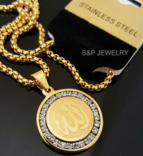 """Gold Stainless Steel Allah muslim CZ Pendant & 24"""" Round Box Chain Necklace 144G"""