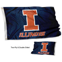 Illinois Fighting Illini Blue Flag Double Sided 2-Ply 3x5 Foot Outdoor Banner