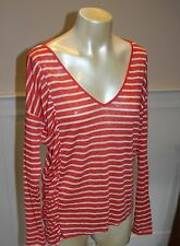 Anthropologie Top The Side Swept Frill V from Fred & Sibel Red White Striped M