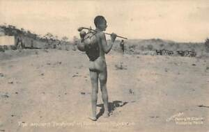 NORTHERN RHODESIA - ZAMBIA, AFRICA, SEMI-NUDE NATIVE CARRYING OBJECTS 1907-20