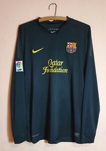 Nike BARCELONA Long Sleeve Black Away Shirt Jersey 2011-2012 Dri-Fit Size XL