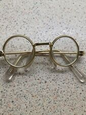 MEDIUM GOLD RIMMED ROUND TEDDY /DOLL GLASSES with clear ear wires
