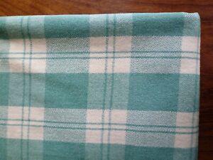 Vintage Welsh 100% Wool check blanket. Green/cream. 1950s