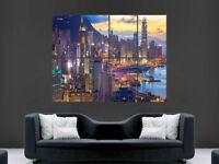 HONG KONG LIGHTS CITY POSTER SKYSCRAPERS BAY ASIA WALL NATURE ART PRINT