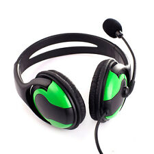 Wired Headset Headphone Earphone Microphone for PS3 Gaming PC Chat Black+Green