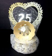 VTG 25th Wedding Anniversary Cake Topper Table Centerpiece Decorations Decor