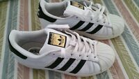 Original Adidas Women's Black/White Trainers 'Superstars' UK Size 4/ EU 37