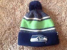 Seattle Seahawks '47 Brand Knit Hat Fairfax Cuff Beanie Pom Stocking Cap