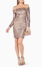 NWT BCBG MAXAZRIA Eunice Sequined Dress Rose Gold Combo Size XXS