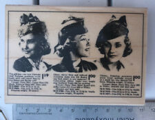 Rubber Stamp ~ Hero Arts 2012 Vintage Fashion Ad Woman Hat Cap Classifieds