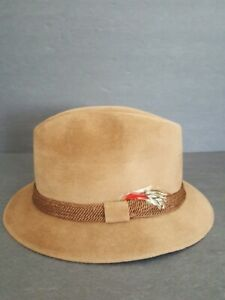Vintage Flechet Brown Mens Hat Genuine Velour Made Imported Furs Made USA In Box