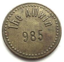 UK, 10 THE ALLWIN 985 1909-1930s Amusement Token 18.25mm 2.2g Brass, Scarce SS13